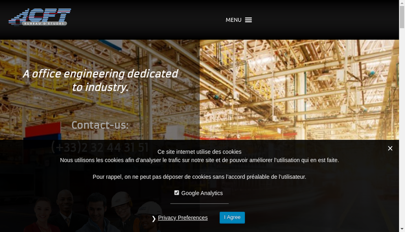 Capture d'écran du site de Acft Bureau d'Etudes