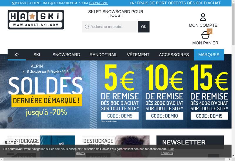Capture d'écran du site de Achatski.com