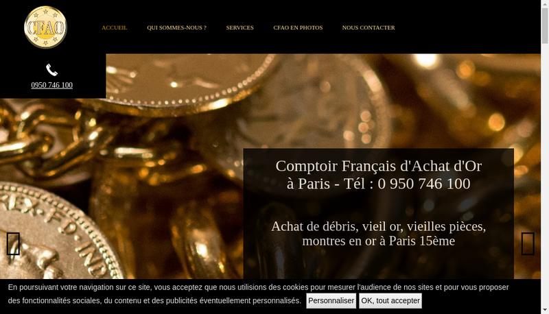 Capture d'écran du site de Or Express-Gold Place-Achat Or France-