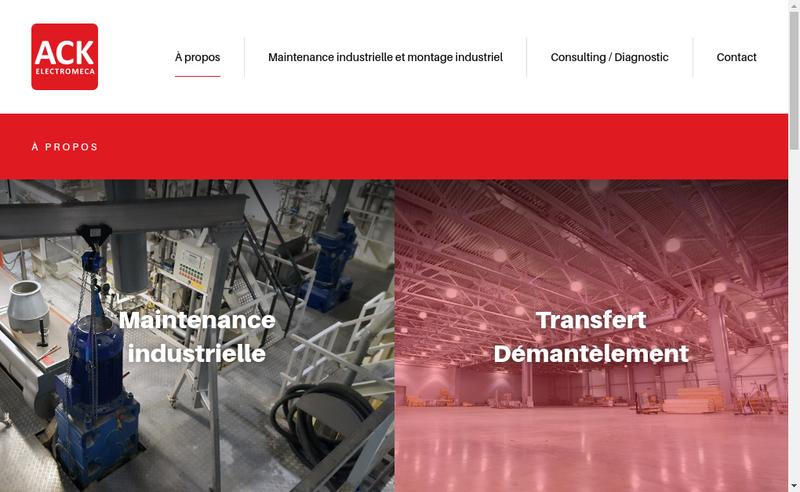 Capture d'écran du site de Ack Electromeca