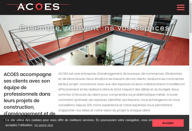 Capture d'écran du site de Acoes