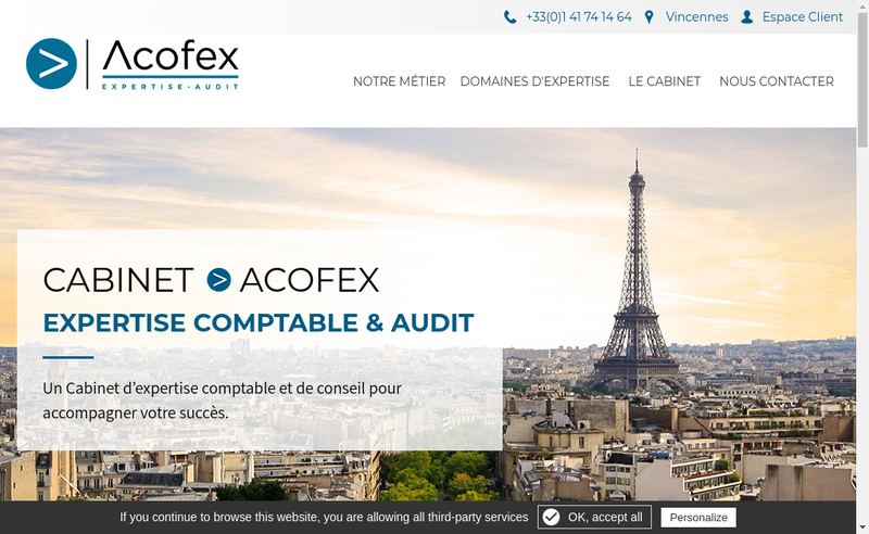 Capture d'écran du site de Acofex
