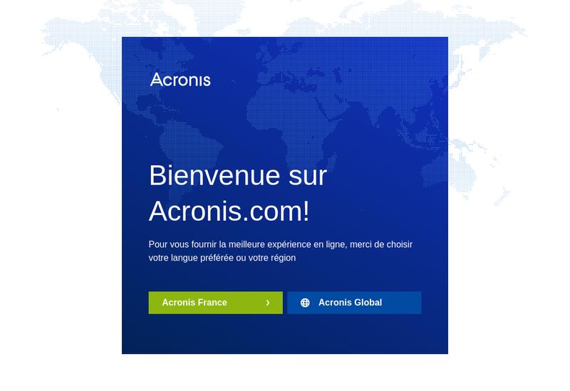 Capture d'écran du site de Acronis