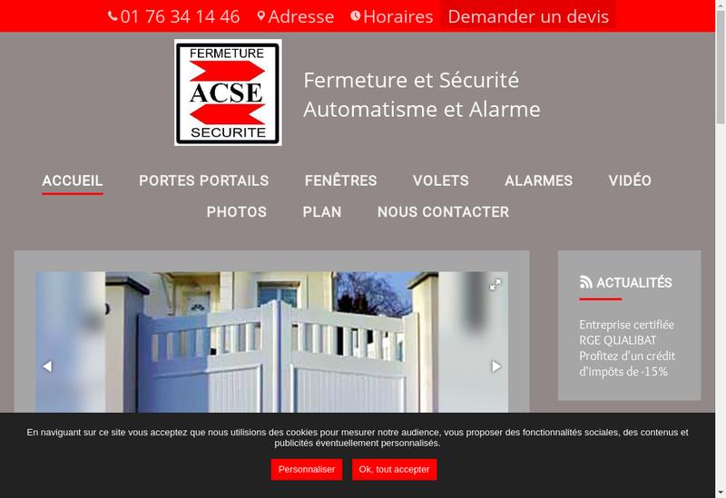 Capture d'écran du site de Acse