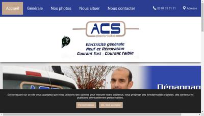 Capture d'écran du site de Acs Electricite
