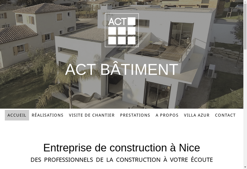 Capture d'écran du site de Act Batiment