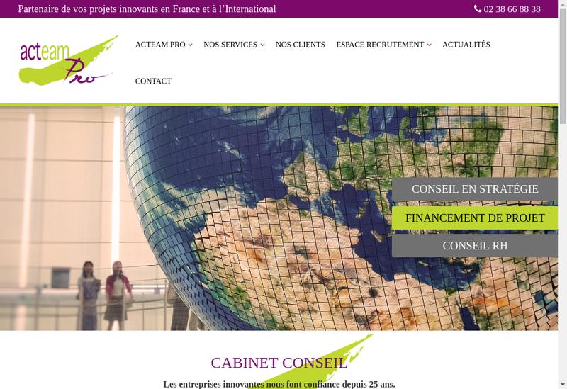 Capture d'écran du site de Acteam Pro