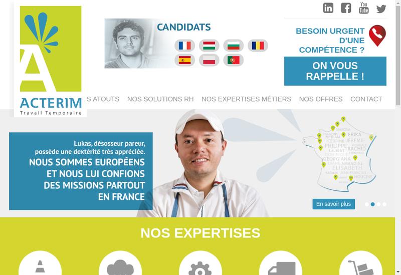 Capture d'écran du site de Acterim