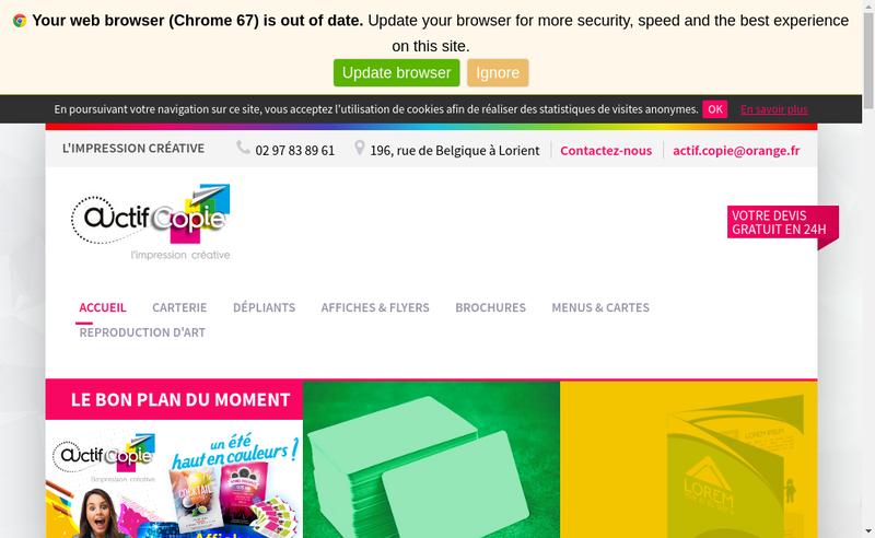 Capture d'écran du site de Actif Copie