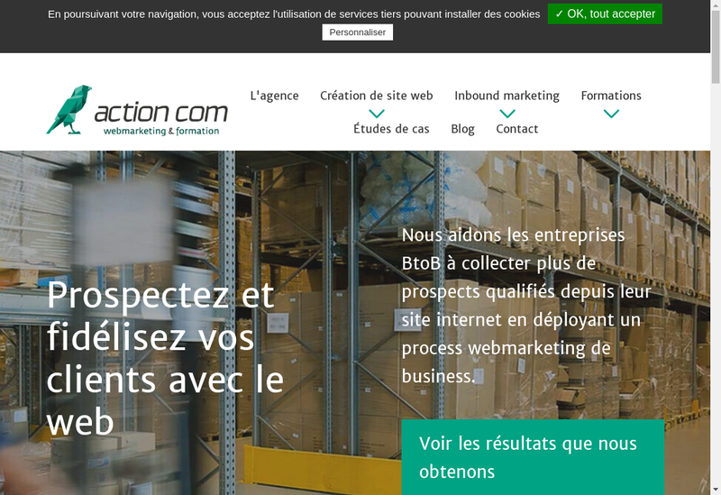 Capture d'écran du site de Action Com