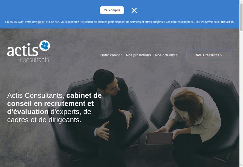 Capture d'écran du site de Actis Consultants