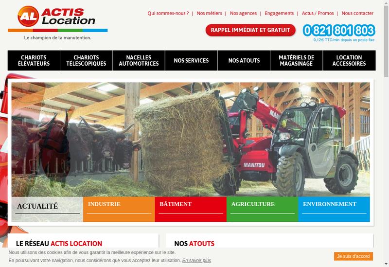 Capture d'écran du site de Actis Location