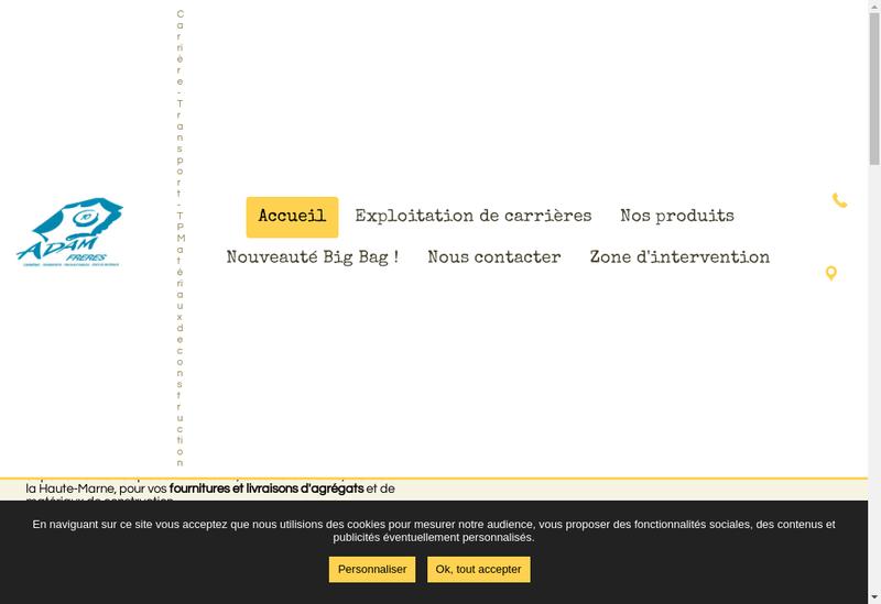 Capture d'écran du site de Adam Freres