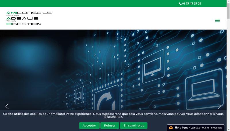 Capture d'écran du site de Adealis