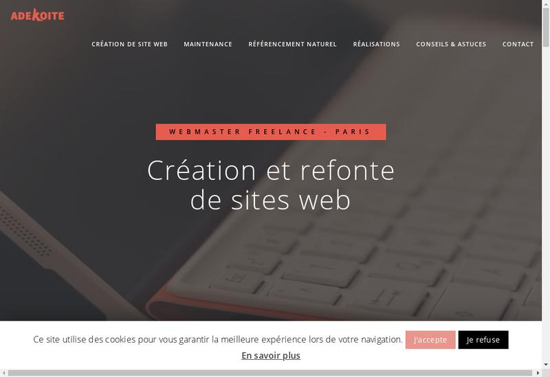 Capture d'écran du site de Adekoite - Julien ZITOLI
