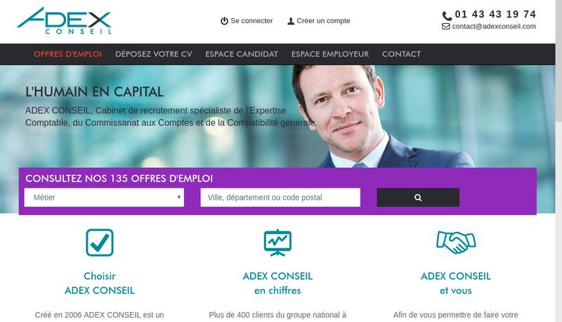 Capture d'écran du site de Adex Conseil