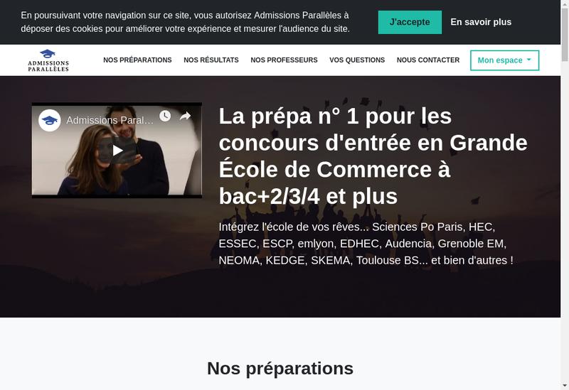 Capture d'écran du site de Admissions Paralleles