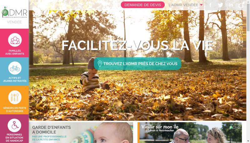 Capture d'écran du site de Federation Admr de Vendee