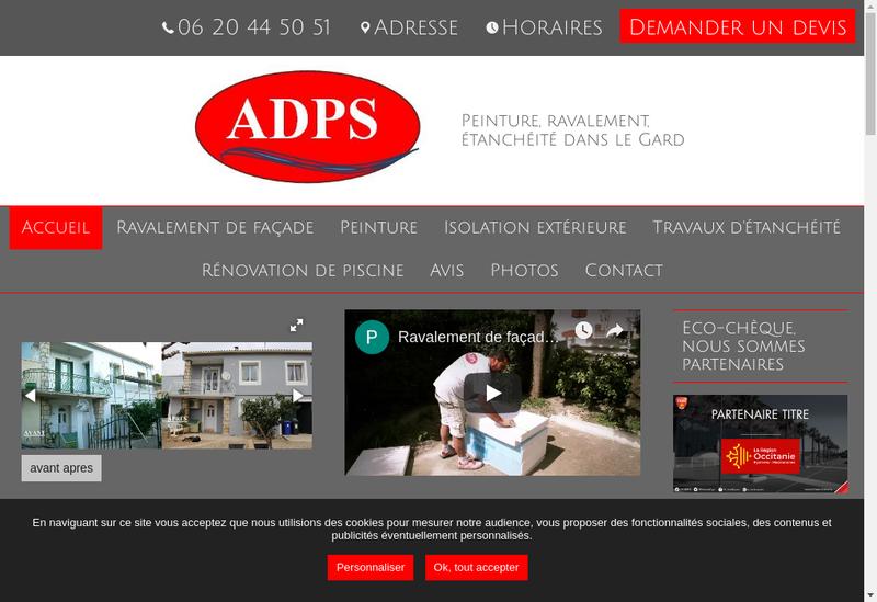Capture d'écran du site de ADPS