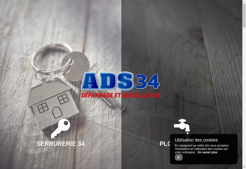 Capture d'écran du site de Ads Serrurerie 34