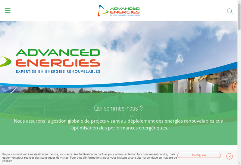 Capture d'écran du site de Advanced Energies