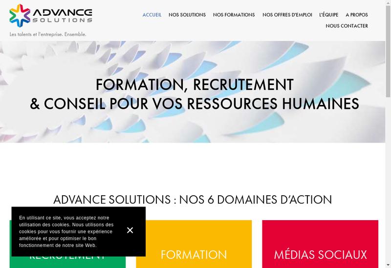 Capture d'écran du site de Advance Solutions
