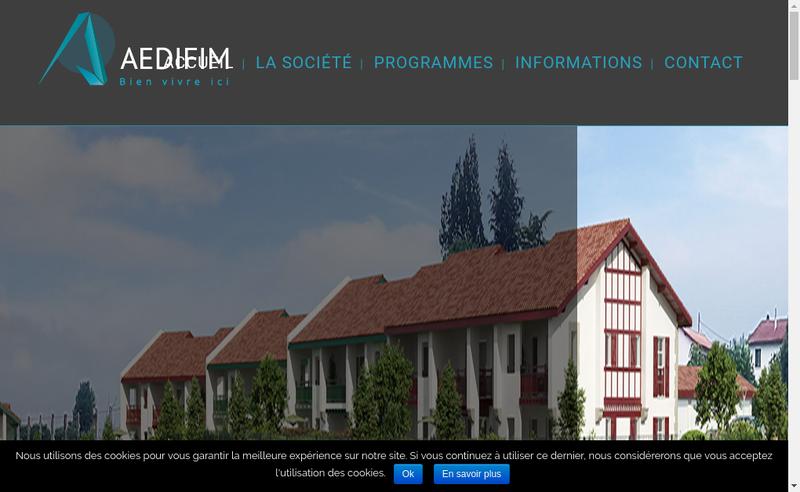 Capture d'écran du site de Aedifim
