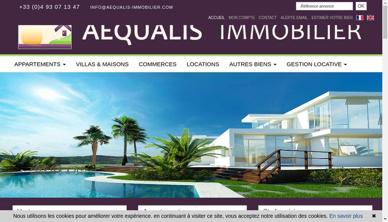 Capture d'écran du site de Aequalis Immobilier