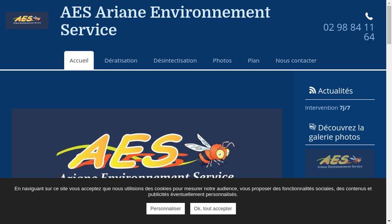 Capture d'écran du site de Ariane Environnement Service