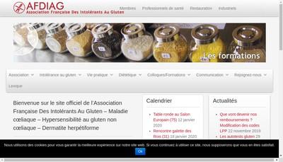 Site internet de Association Francaise des Intolerants au Gluten