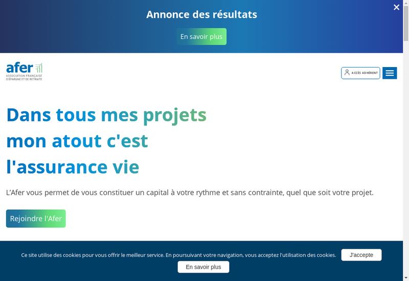 Capture d'écran du site de Afer Immo