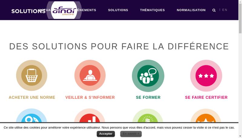 Capture d'écran du site de Afnor Certification