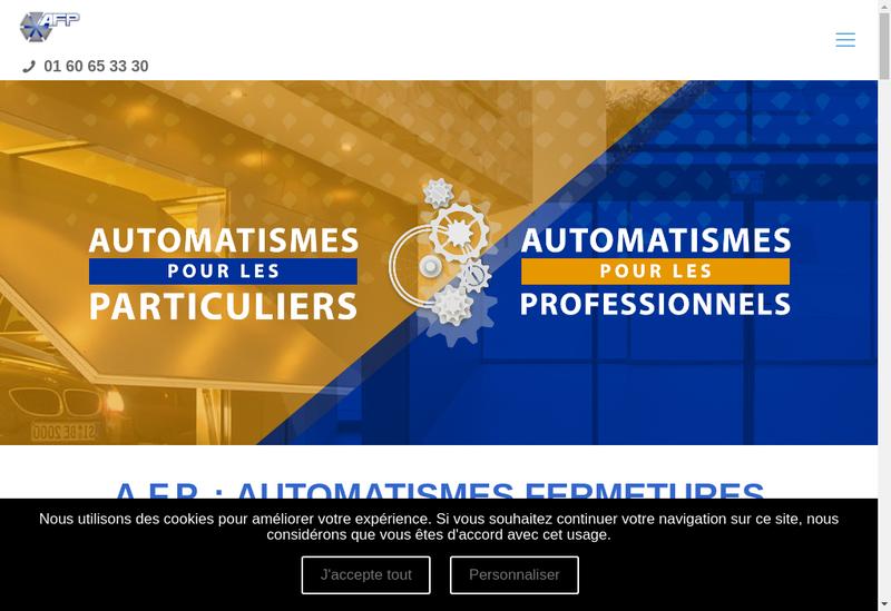 Capture d'écran du site de Automatismes Fermetures Protection