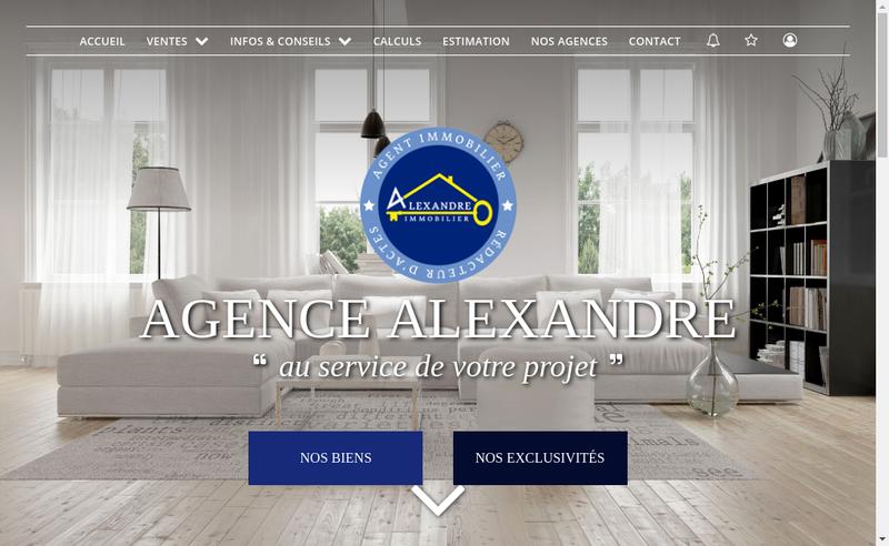 Capture d'écran du site de Agence Alexandre
