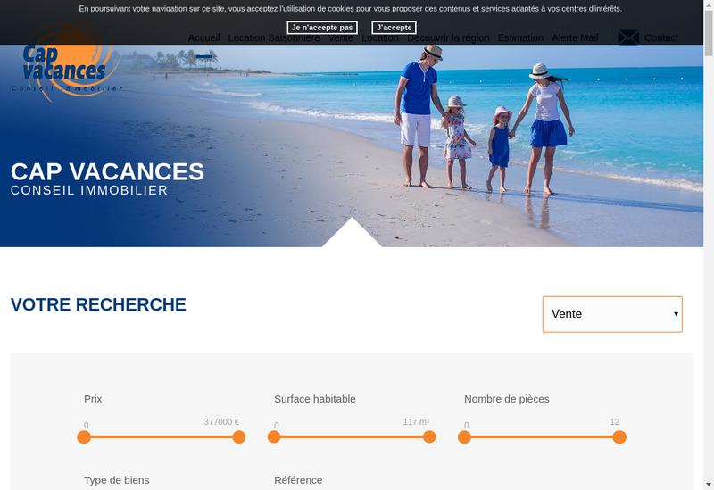 Capture d'écran du site de Agence Cap Vacances