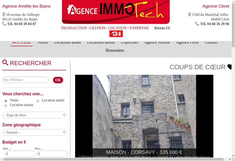 Capture d'écran du site de Agence Immotech