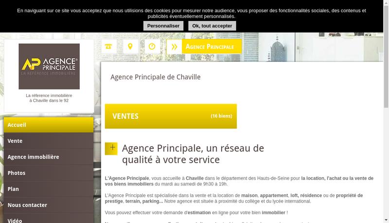 Capture d'écran du site de Presence Immo