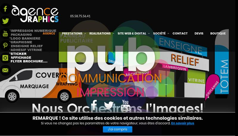 Capture d'écran du site de Agence Graphics