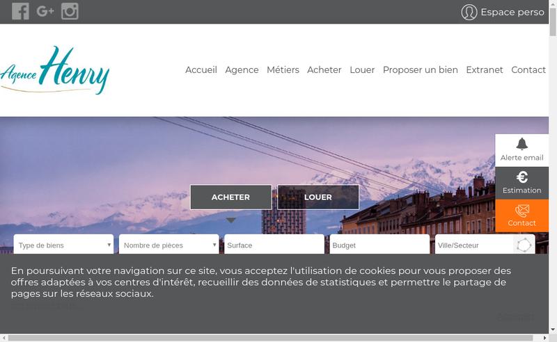 Capture d'écran du site de Agence Henry