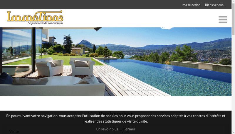 Capture d'écran du site de SARL Immotions