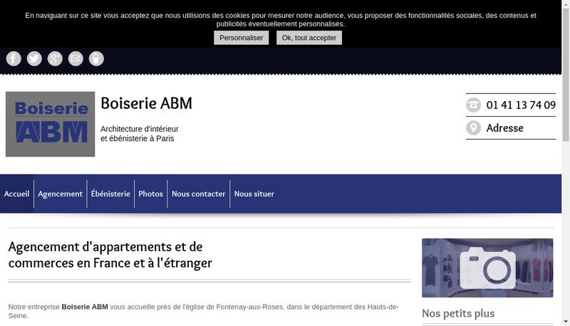 Capture d'écran du site de Boiserie ABM