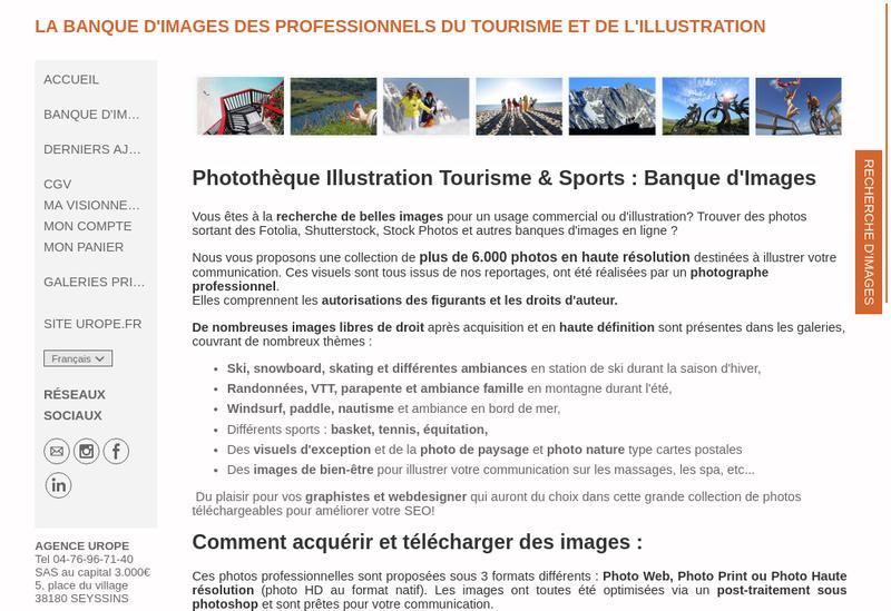 Capture d'écran du site de Agence Urope