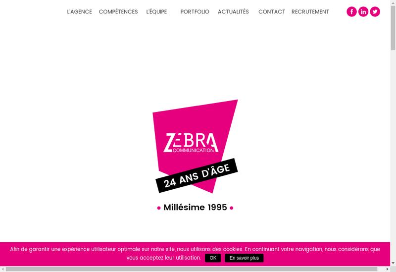 Capture d'écran du site de Zebra Communication