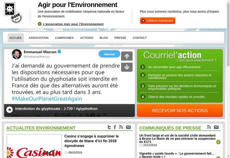 Capture d'écran du site de AGIR