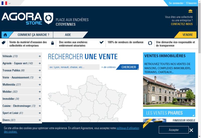 Capture d'écran du site de Agorastore