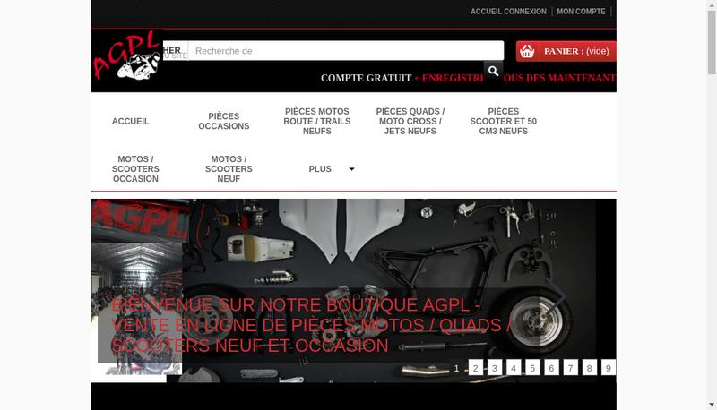 Capture d'écran du site de Pieces Moto Agpl