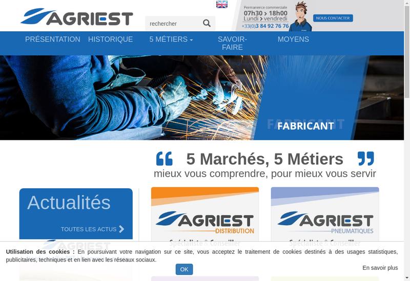 Capture d'écran du site de Agriest