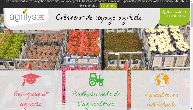 Capture d'écran du site de Agrilys Voyages