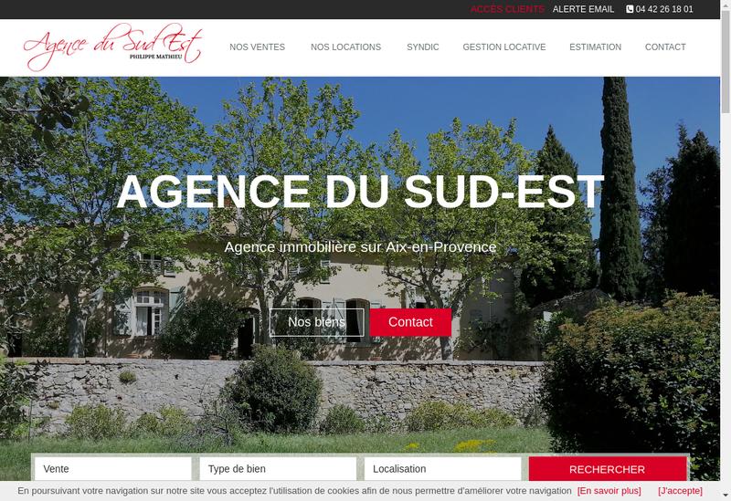 Capture d'écran du site de Agence du Sud-Est