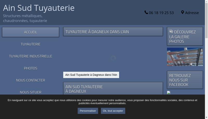 Capture d'écran du site de Ain Sud Tuyauterie